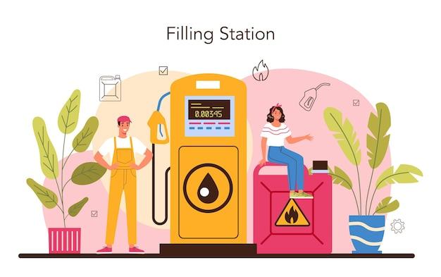 Tankstellenmitarbeiter im tankstellenkonzept in einheitlicher arbeitsweise