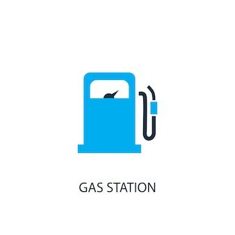 Tankstellensymbol. logo-element-abbildung. tankstellensymbol-design aus 2-farbiger kollektion. einfaches tankstellenkonzept. kann im web und mobil verwendet werden.