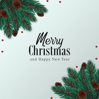 Tanne verlässt eckzarge mit draufsicht des kiefernkegels für grußschablone der frohen weihnachten