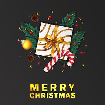 Tannenblätter mit weihnachtsgrußkarte der zuckerstange und des präsentkartons schwarz