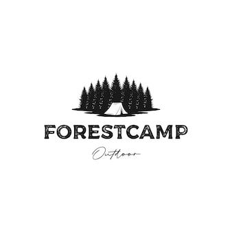 Tannenkieferwald camping rustikaler logo-design-vektor