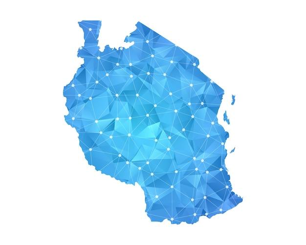 Tansania-kartenlinie punktet polygonale abstrakte geometrische.
