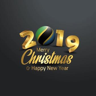 Tansania-Markierungsfahne 2019 frohe Weihnacht-Typografie