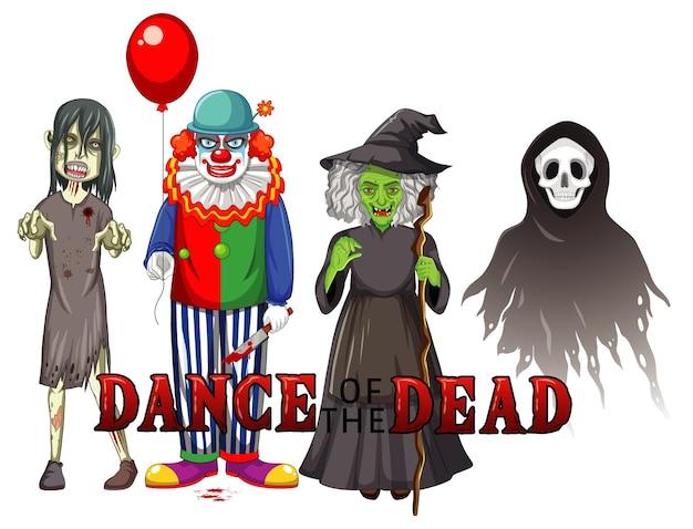 Tanz des toten textdesigns mit halloween-geisterfiguren