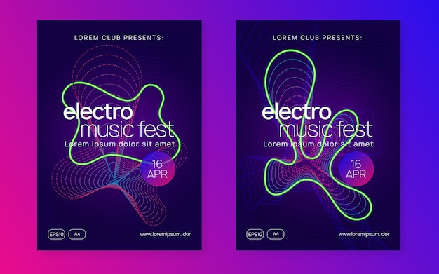 Tanz-flyer. dynamische verlaufsform und -linie. moderne show-banner-set. neon-tanz-flyer. elektro-trance-musik. techno-dj-party. elektronisches klangereignis. clubfest-plakat.