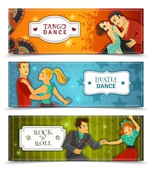 Tanz vintage horizontale flache banner set