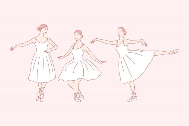 Tanzen, ballett, unterrichtendes gesetztes konzept
