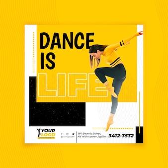 Tanzen im quadrat flyer vorlage design