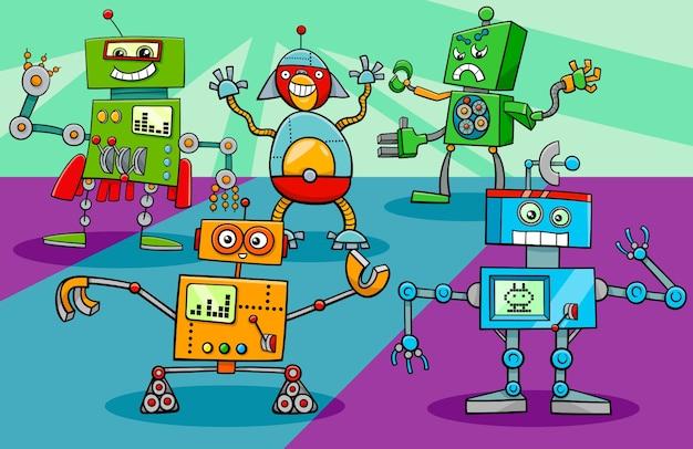 Tanzen roboter zeichen gruppe cartoon