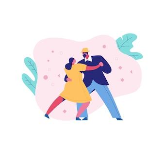 Tanzen romantisches paar frau und mann im freien.