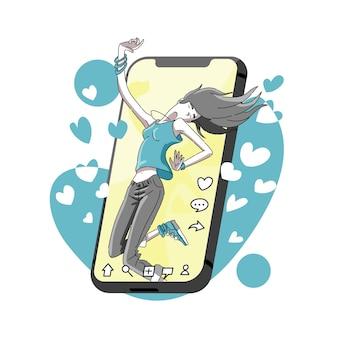 Tanzen und beliebt in sozialen netzwerken