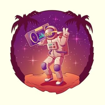 Tanzenastronauten- oder -raumfahrercharakter im raumanzug und in der sonnenbrille