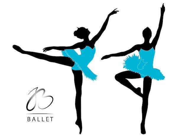 Tanzende ballerina schwarze silhouetten in blauen kleidern auf weißem hintergrund