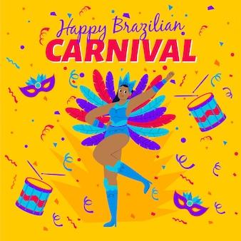 Tanzende frau, die bunte federn für karnevalsparty trägt