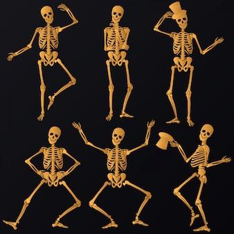 Tanzende goldene skelette