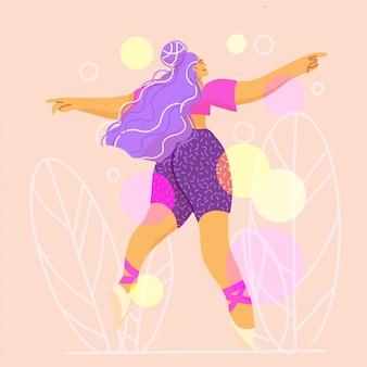Tanzende junge frau, choreografie, moderner tanz.