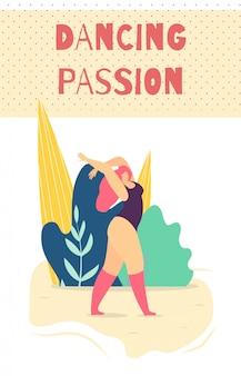 Tanzende leidenschaftliche frau motivieren kartenfahne
