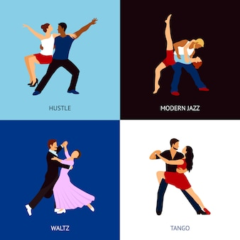 Tanzende menschen festgelegt