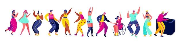 Tanzende menschen hand zeichnen isolierte comicfiguren, illustration. männer und frauen tanzen auf party, spaß clubmusik aktive freizeit. lustige comicfiguren menschen modernen stil