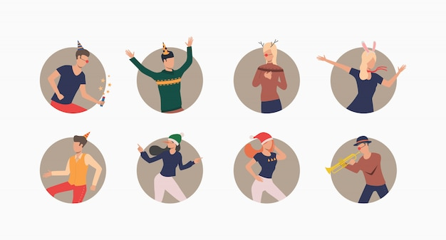 Tanzende menschen in festlichen hüten setzen banner