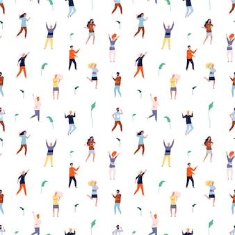 Tanzende menschen nahtloses muster.