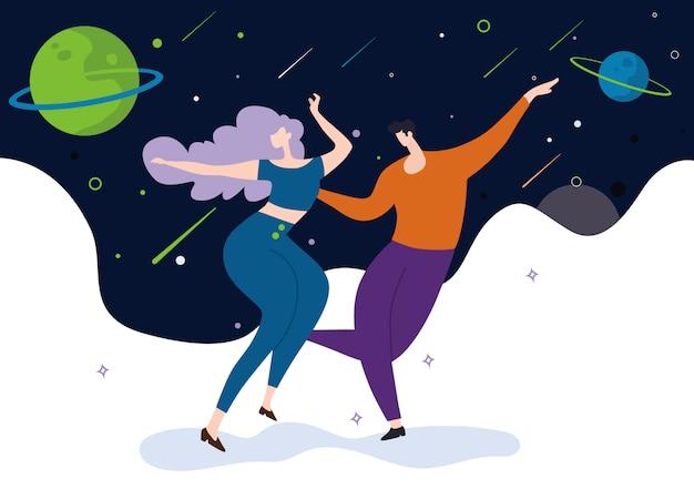 Tanzende paare auf sternhintergrund