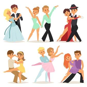 Tanzende paare romantische person und leute tanzen mann mit frau unterhaltung zusammen schönheit