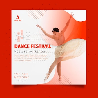 Tanzende quadratische flyer-vorlage