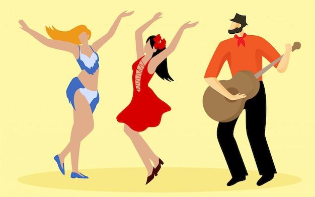 Tanzende schlanke frauen und musiker im orangefarbenen hemd.