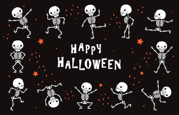 Tanzende skelette. lustige weiße menschliche knochen im tanz. schwarzes plakat des halloweenvektors im horrorstil