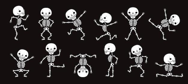 Tanzende skelette. niedliche halloween-skeletttänzer, lustiger horrorcharaktervektor isolierter satz. illustration skelett halloween party, charakter menschlichen knochen