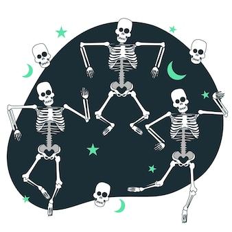 Tanzende skelettkonzeptillustration