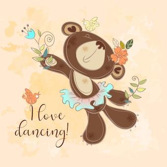 Tanzender bär in einem tutu