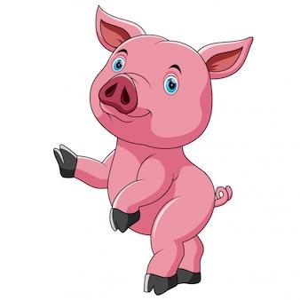 Tanzender niedlicher niedlicher schwein-cartoon