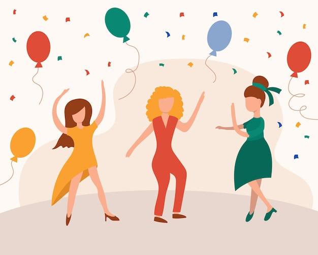 Tanzendes mädchen kartenhintergrund. glückliche tanzende helle farbige erwachsene frau für moderne pop-partyeinladung des designs