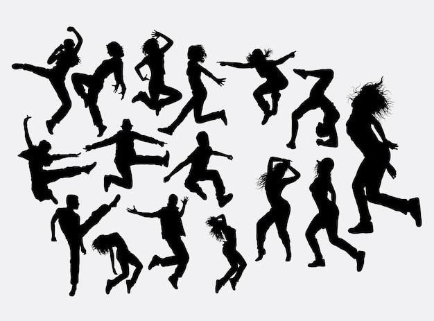 Tanzendes männliches und weibliches schattenbild