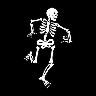 Tanzendes skelett auf schwarzem hintergrund vektor-illustration