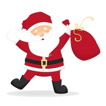 Tanzenkarikatur santa claus mit tasche mit geschenken. isoliert
