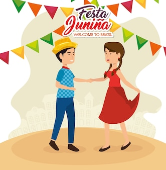 Tanzenpaare mit festa junina zeichen und bunten fahnen vector illustration