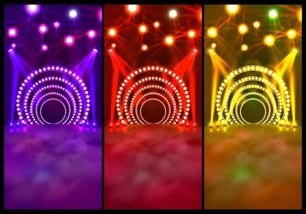 Tanzflächenbanner, disco-textschild, farbsatz. vektor-illustration