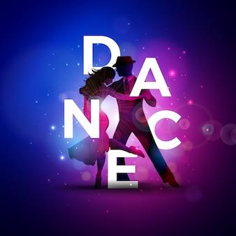 Tanzillustration mit tangotanzpaar und weißem buchstaben