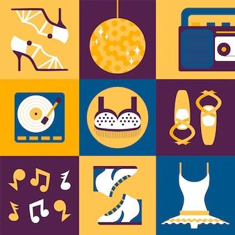 Tanzkleidung und accessoires in flacher collage, satz ikonen und aufkleber