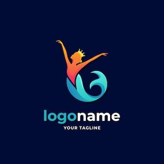 Tanzkönigin meerjungfrau logo farbverlauf sirene