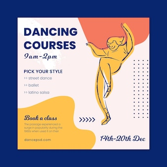 Tanzkurs schule quadrat flyer vorlage