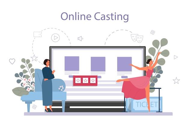 Tanzlehrer oder choreograf im online-service des tanzstudios Premium Vektoren