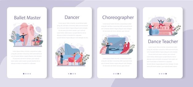 Tanzlehrer oder choreograf in der mobilen anwendung des tanzstudios Premium Vektoren