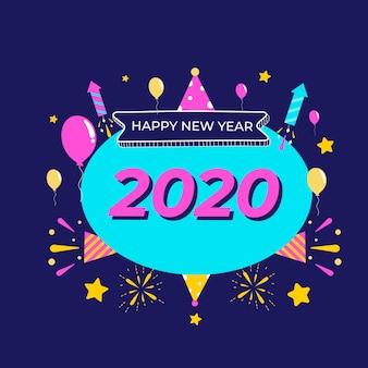 Tapete des neuen jahres 2020 des flachen designs