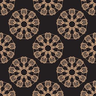 Tapete im stil des barock. nahtloser vektorhintergrund. gold und schwarze blumenverzierung. grafisches muster für stoff, tapete, verpackung.