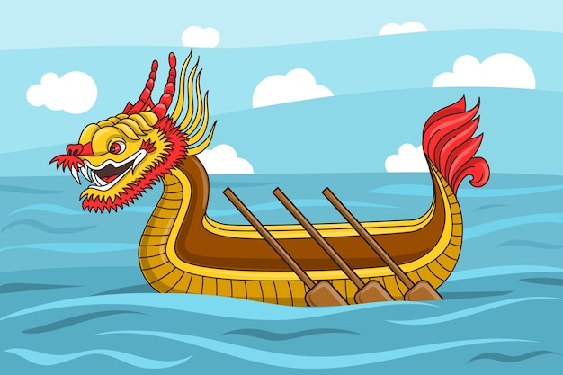 Tapete mit drachenboot