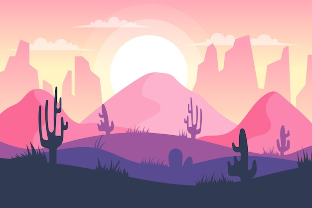 Tapete mit wüstenlandschaft